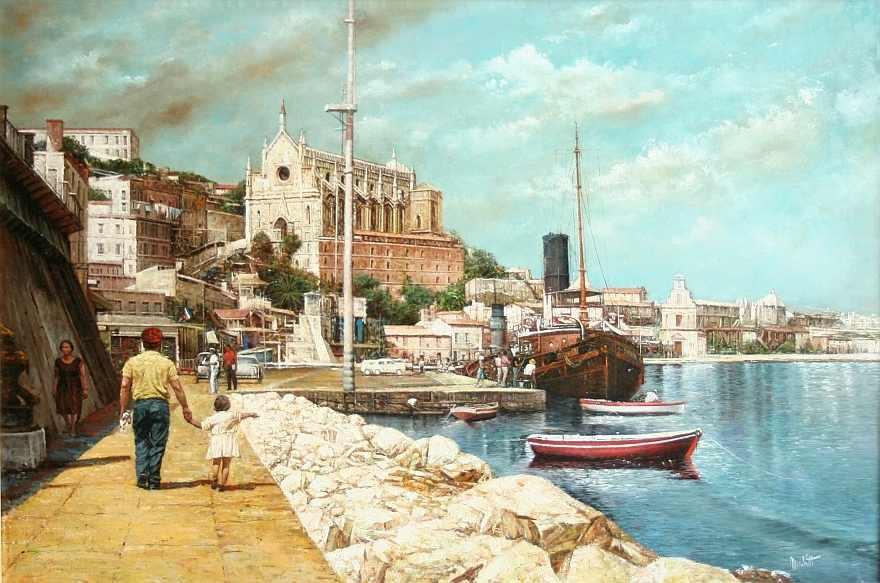 Paintings of Seaside Scenes a Scene in The Seaside Town of